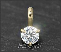 Diamant Brillant 585 Gold Anhänger mit 0,22 ct; Lupenrein, Damenanhänger Gleiter