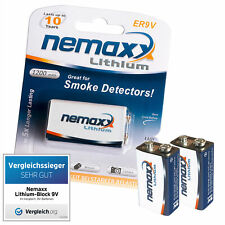 2x NEMAXX 9V Block POWER PLUS 1200 mAh Lithium Batterie - 10 Jahre Lebensdauer