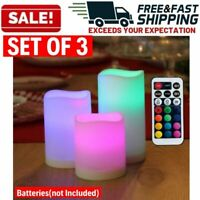 Color Changing Flameless Candles Set LED Timer Remote Control Home Decoration
