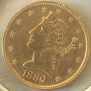 1880 $5 Liberty Head Gold Half Eagle - # 211