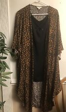NWT WOMAN PLUS SIZE 2X TERRA & SKY 2 Pc Kimono Top Set Leopard Black NEW AMAZING