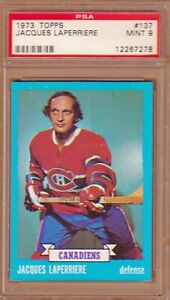 1973-74 TOPPS # 137 JACQUES LAPERRIERE PSA 9 MINT MONTREAL CANADIENS