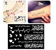 Arabic Love Temporary Tattoo Henna Glitter Stencil Sticker Body Art Vinyl