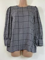 BNWOT NEXT black white check gingham long sleeve relaxed fit blouse size 10 38