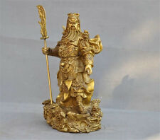 China Folk brass dragon warrior Generals Guan gong guan yu god Broadsword statue