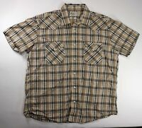 Lucky Brand Sportswear Mens Western Pearl Snap Plaid Short Sleeve Shirt Large
