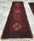 Distressed Authentic Hand Knotted Vintage Zaidan Balouch Wool Area Rug 5 x 2 Ft