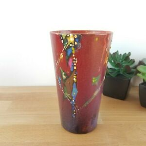 Funky Abstract Painted Glass Vase- Student Art Project