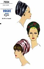 Vogue #7034 Hat TURBAN Fabric Sewing Pattern Vintage 50's Alopecia Chemo Cancer