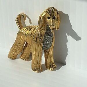 Vintage Signed JOMAZ Gold Tone Afgan Hound Dog Brooch W/ Rhinestones