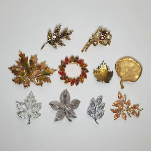 Lot of 10 Brooches Fall Leaf Gold Silver Tone Liz Claiborne Lady Remington Weiss