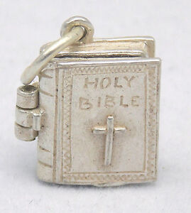 OPENING STERLING SILVER HOLY BIBLE CHARM