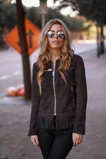 Topshop Premium 100% Leather Suede Fringed Grey fringe tassel Jacket  UK 8 10