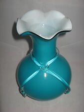 Sea Blue Green Aqua Studio Art Glass Vase w/ Glass Ribbon & Ruffled Rim 11.25in