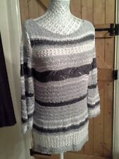 LOVELY LADIES GREY & WHITE STRIPED PER UNA JUMPER SIZE SMALL