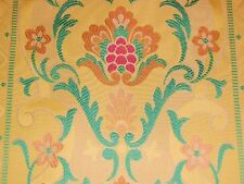 5Y new Italian LAMPAS Upholstery Fabric colorful design cotton yellow green oth
