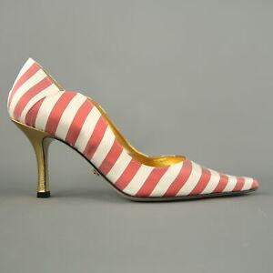 NICOLE MILLER ESTELLE Size 7 White & Red Striped Satin Hold Heels Pumps