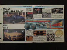 Maserati Ghibli Cup vs BMW M3 IMP Hot Cars Spec Sheet Folder Brochure RARE