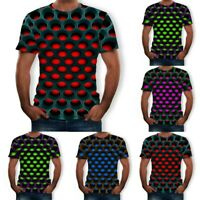 Funny Hypnosis 3D Shirt Men Women Colorful Print Casual Short Sleeve Tee Tops US