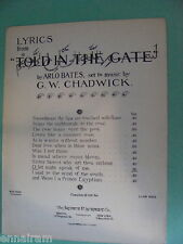 O Let Night Speak of Me Arlo Bates poem 1925 G W Chadwick high voice