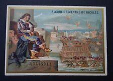 Chromo ALCOOL DE MENTHE RICQLES 1887 victorian trade card ROI KING La Rochelle