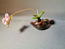 Dollhouse Miniature Teapot with Orchid Flower
