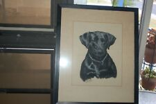 ORIGINAL PASTEL PAINTING BY OLE LARSEN OF PRINCE NICHOLAS OF HENRY, BLACK LAB.