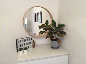 Natural wood veneer round wall mirror ash veneer diameter 23,5in(60cm) like Ikea