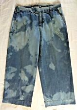 Caribbean Joe Womens Size 16 Wide Leg Jeans Blue Bleach Dyed Cotton