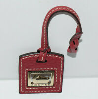Dooney & Bourke Brass Duck & Red Leather Hang Tag Fob Bag Purse Charm