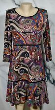KATE & MALLORY Black Multicolor Paisley Print Tiered Dress Small 3/4 Sleeves