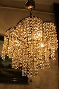Antique Vintage FRENCH Waterfall style Swarovski Crystal Chandelier Light  Lamp