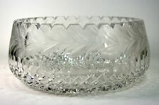 Hand Cut Crystal Bowl Etched Flowers