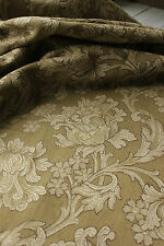 Curtain Antique French Art Nouveau woven drape ~ khaki green large scale trimmed