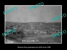 OLD LARGE HISTORIC PHOTO OF BRONSON IOWA, PANORAMA OF THE TOWN c1900