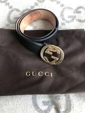 "STUNNING! $450 Gucci ""Guccissima"" Black Leather Logo Belt! Size EU 90!"