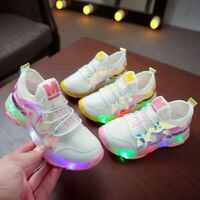 Children Kids Girls Mesh Letter LED Luminous Sport Running Sneakers Shoes