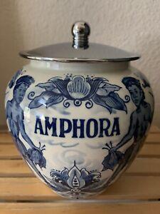 Vintage Hand Painted Delft Blue Holland Amphora Tobacco Jar And Lid