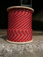 """Sailboat Rigging Rope 5/16"""" x 100' Red/White Double Braided Sheet Halyard Line"""