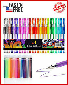 48 Set Gel Pens Colored Glitter For Coloring Books Drawing Art Marker Adult Kids