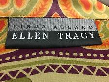 Ellen Tracy Linda Allard Long Sleeve Button Down Silk Blouse Top Casual Orange 8