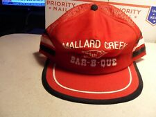 VTG 3 Stripe MALLARD CREEK 66th BARB-B-QUE RED Trucker Hat Made in USA Cap