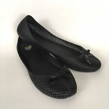 Mel Dreamed By Melissa Womens Perforated Ballet Jelly Flats Bow Black Size 10