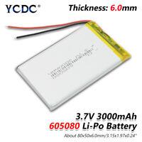 3.7V 3000mAh Lipo Battery 605080 With PCB For MP4 MP5 Tablet GPS BT Speaker 1F3