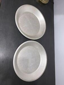 """Lot of 2 Vintage Mirro 9 x 1 1/4"""" Aluminum Pie Pans Model 289"""
