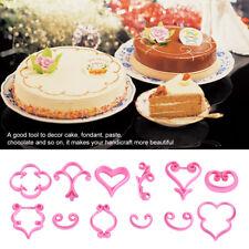 12Pcs Flower Rose Cake Decorating Fondant Icing Cutter Mold Sugarcraft Tools LJ