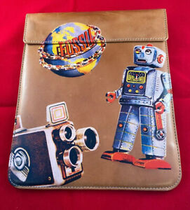 Fossil Penelope robot tech sleeve iPad tablet cover leather Pouch Zipper