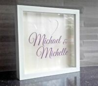 Wedding Guest Book Drop Box Frame with Hearts - Personalised & Choice of colours
