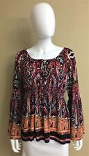 Colleen Lopez Womens Shirt Medium Multi-Color Paisley Stripes Tunic Bell Sleeves