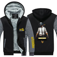 Hot Game PUBG Zipper Hoodie Winter Coat Fleece Unisex Jacket Warm Sweatshirts